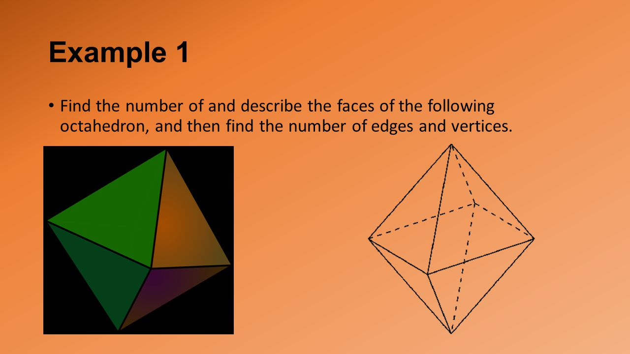 Example 1 Find the number of and describe the faces of the following octahedron, and then find the number of edges and vertices.