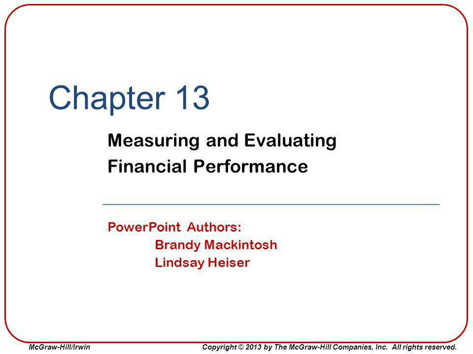 Measuring and Evaluating Financial Performance