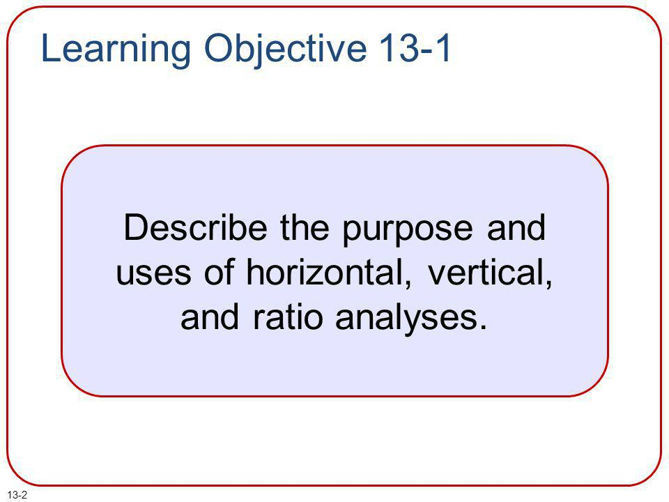 Learning Objective 13-1 Describe the purpose and uses of horizontal, vertical, and ratio analyses.