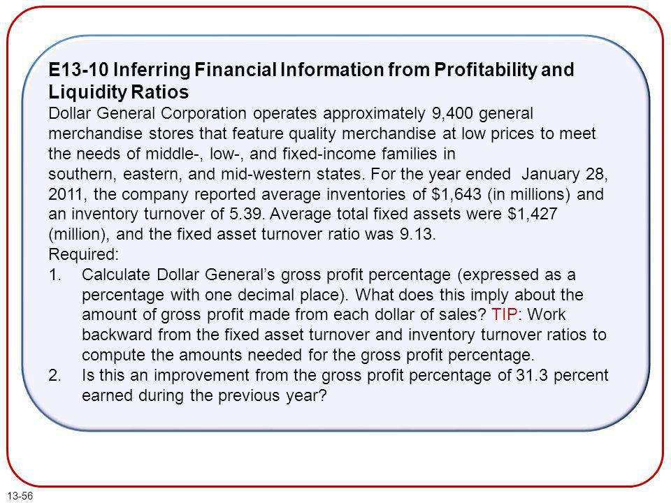 E13-10 Inferring Financial Information from Profitability and Liquidity Ratios
