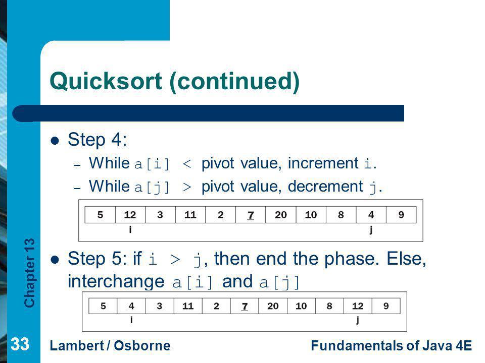 Quicksort (continued)