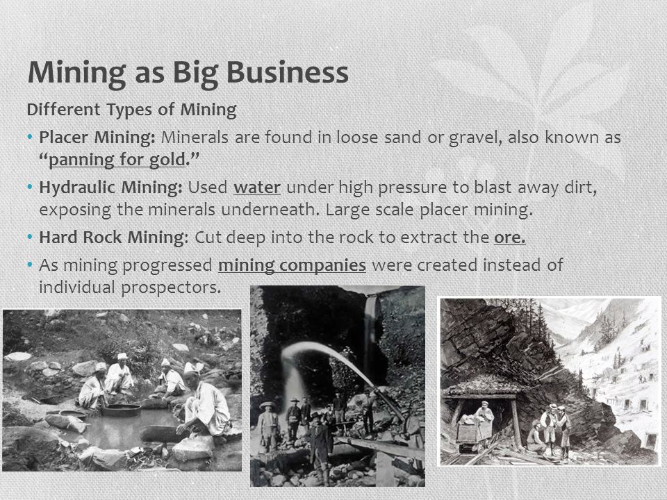 Mining as Big Business Different Types of Mining