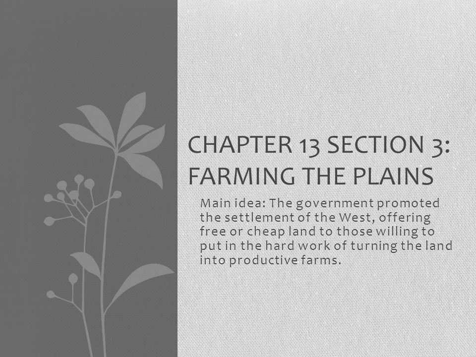 Chapter 13 Section 3: Farming the Plains