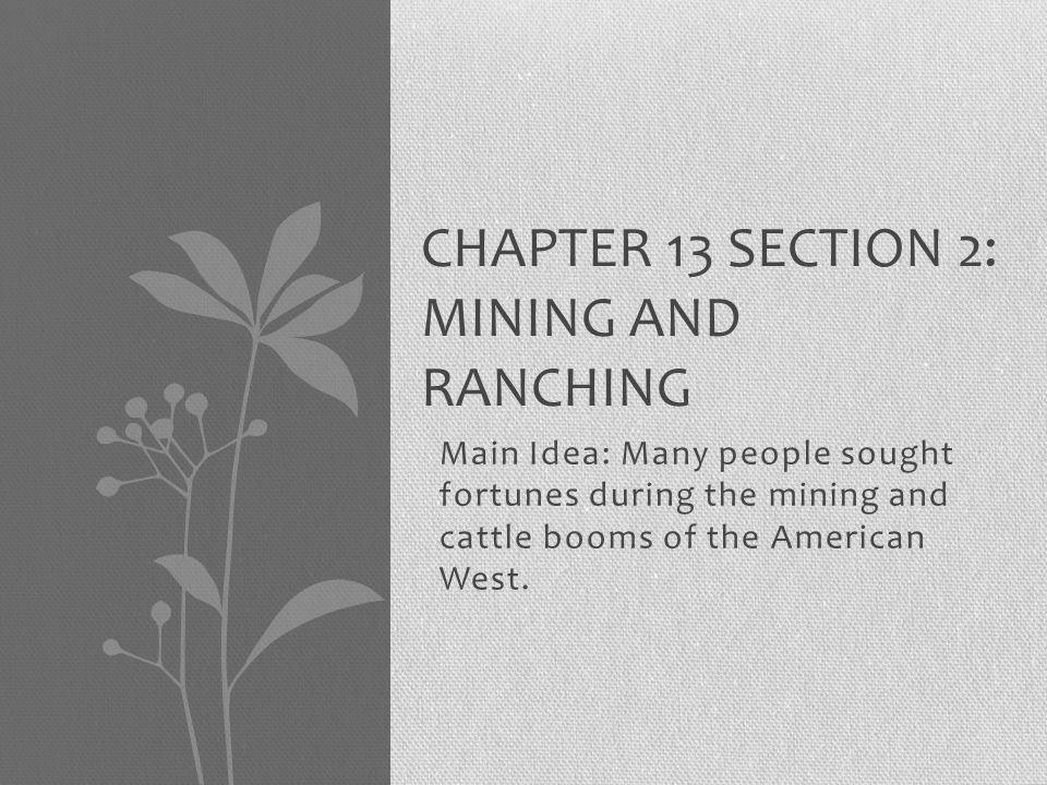Chapter 13 Section 2: Mining and Ranching