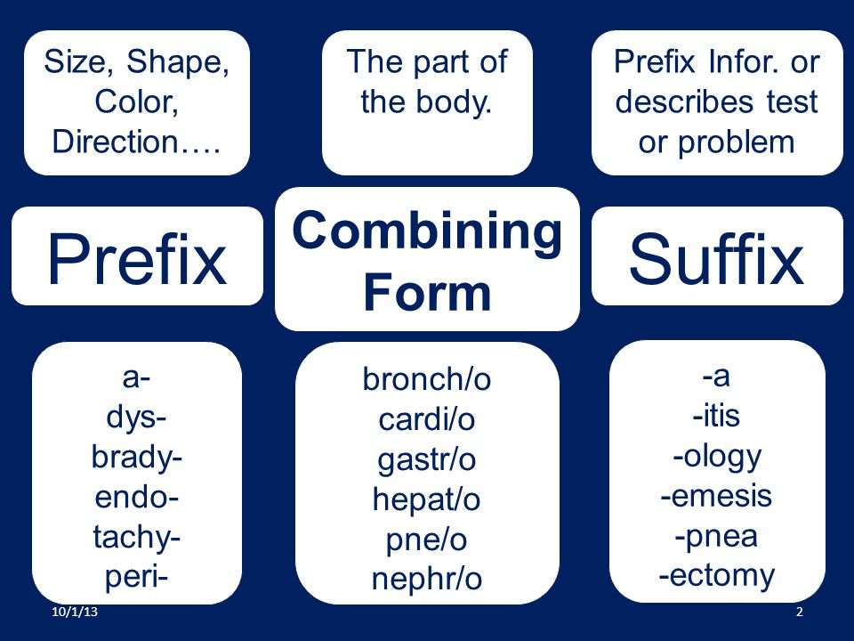 Prefix Suffix Combining Form Size, Shape, Color, Direction….