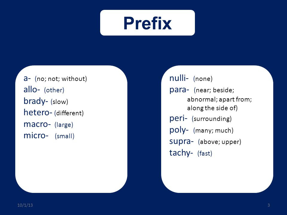 Prefix a- allo- brady- hetero- macro- micro- nulli- para- peri- poly-