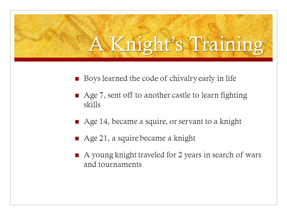 A Knight's Training Boys learned the code of chivalry early in life