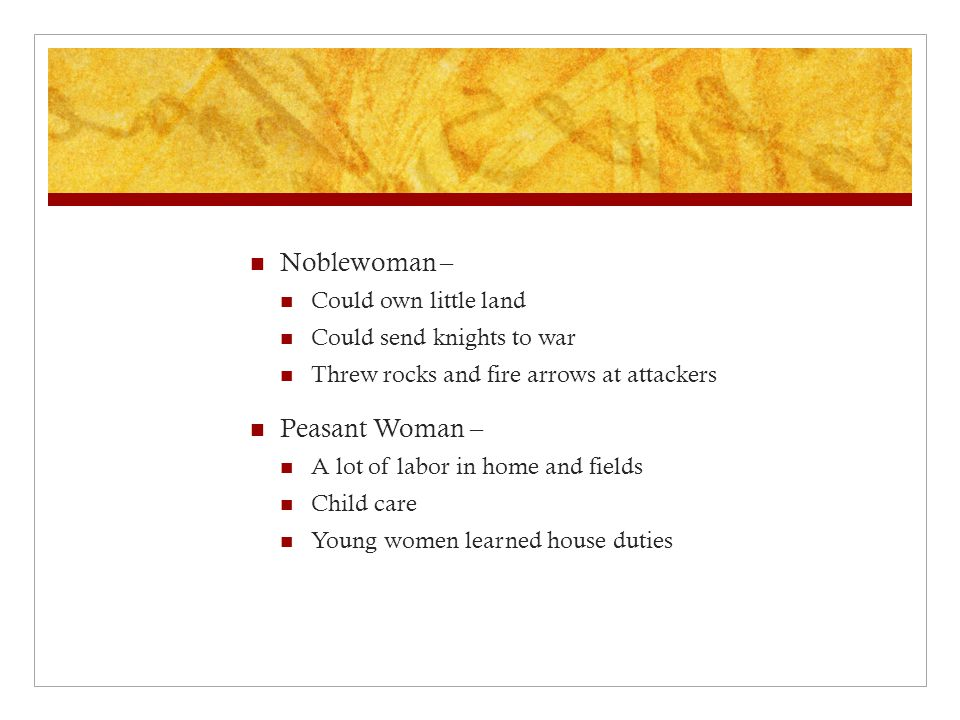 Noblewoman – Peasant Woman – Could own little land