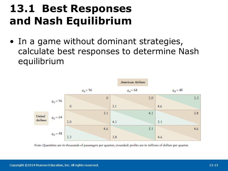13.1 Best Responses and Nash Equilibrium