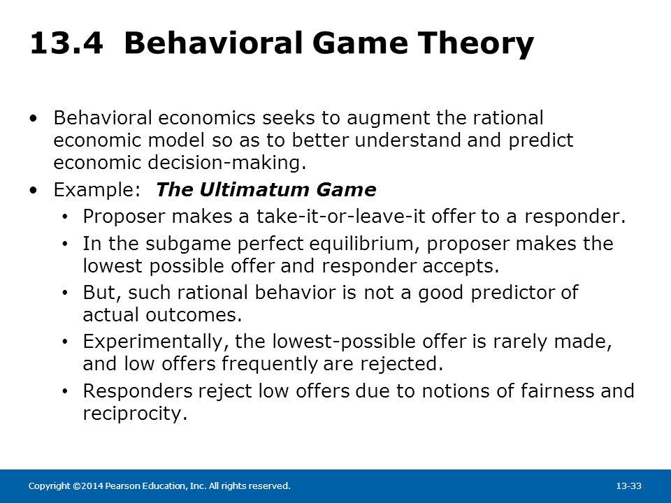 13.4 Behavioral Game Theory