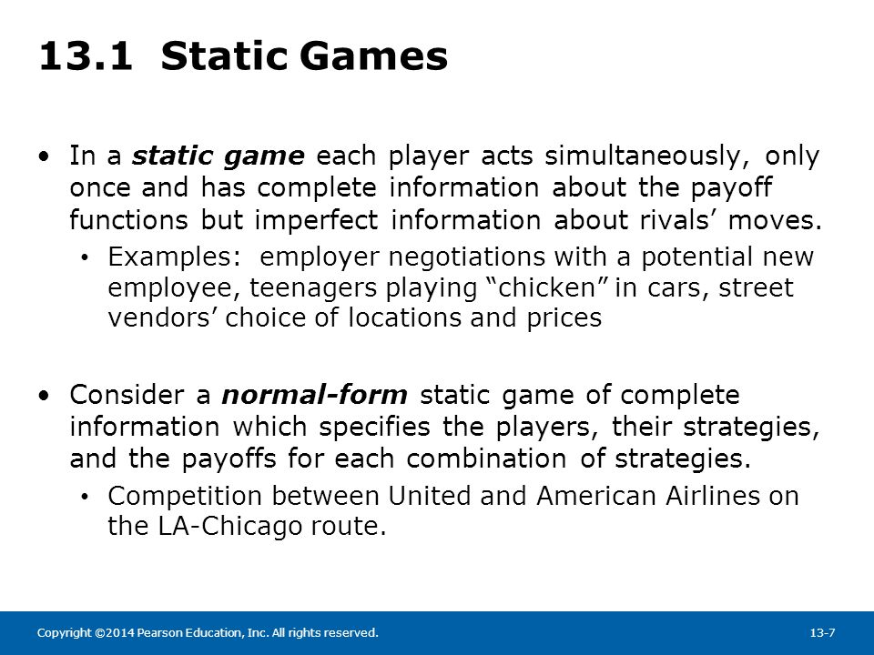 13.1 Static Games