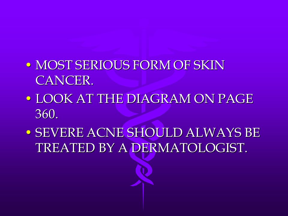MOST SERIOUS FORM OF SKIN CANCER.