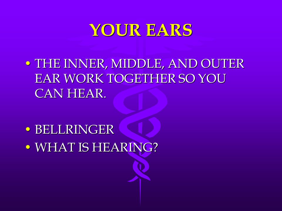 YOUR EARS THE INNER, MIDDLE, AND OUTER EAR WORK TOGETHER SO YOU CAN HEAR.