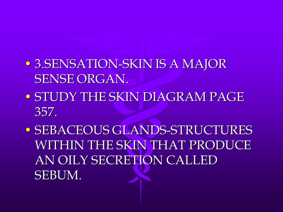 3.SENSATION-SKIN IS A MAJOR SENSE ORGAN.