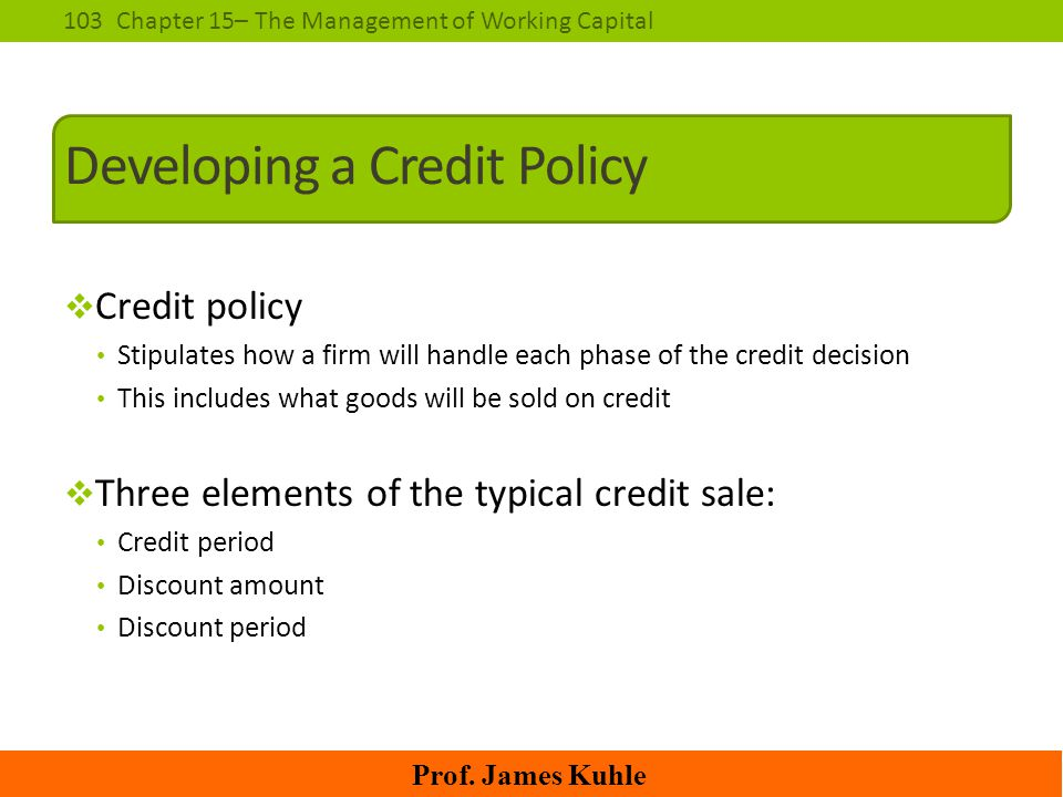 Developing a Credit Policy
