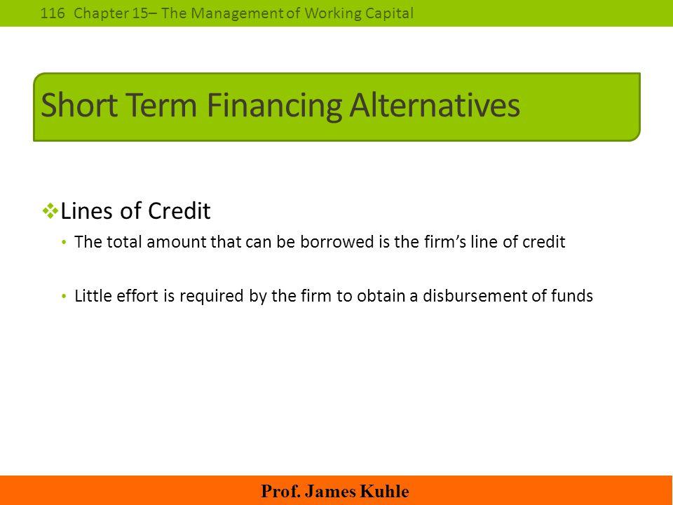 Short Term Financing Alternatives