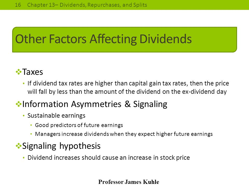 Other Factors Affecting Dividends