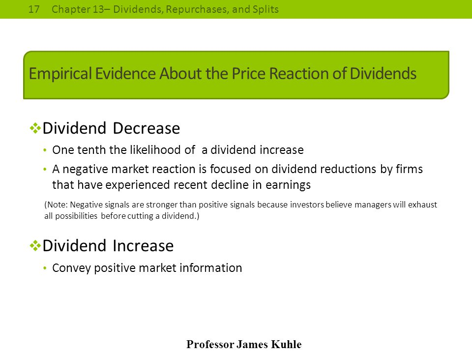 Empirical Evidence About the Price Reaction of Dividends
