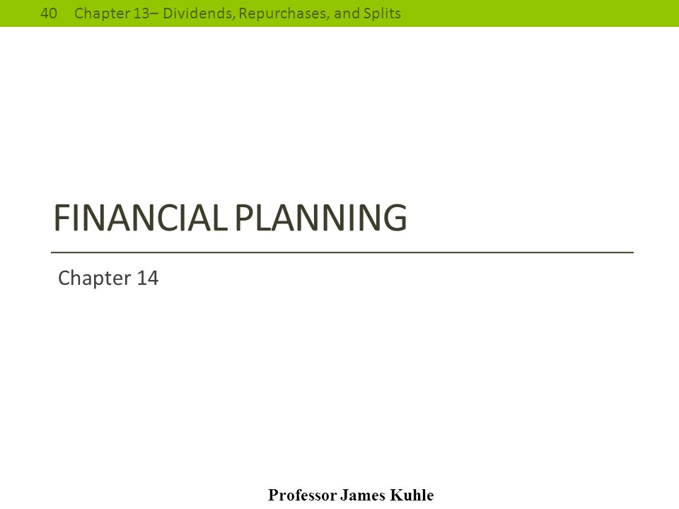 Chapter 1 - Introduction to Finance Chapter 14
