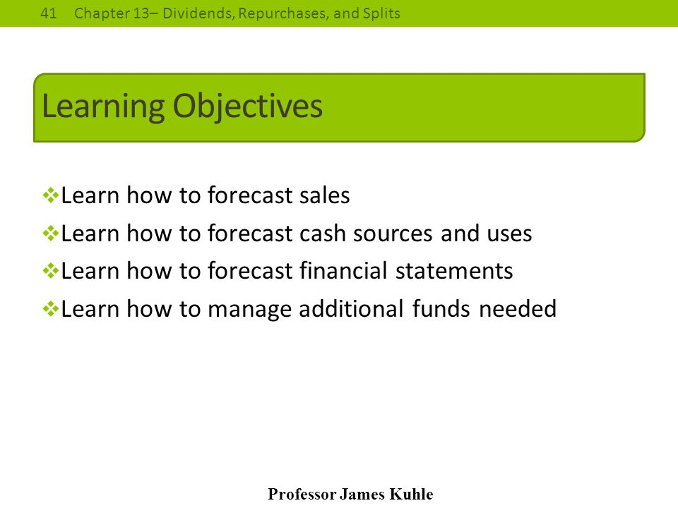 Learning Objectives Learn how to forecast sales