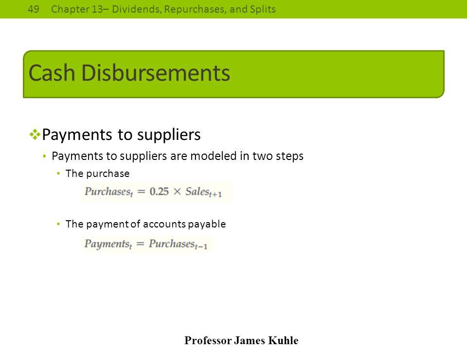 Cash Disbursements Payments to suppliers