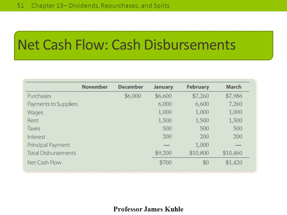 Net Cash Flow: Cash Disbursements