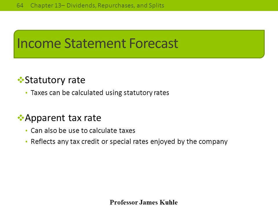 Income Statement Forecast
