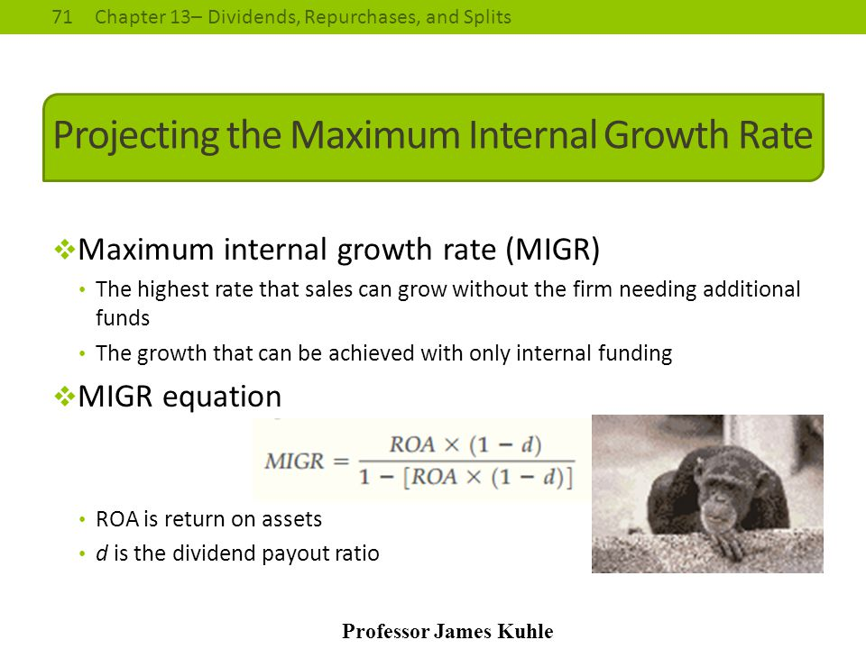 Projecting the Maximum Internal Growth Rate