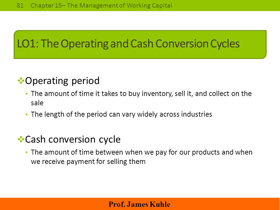 LO1: The Operating and Cash Conversion Cycles