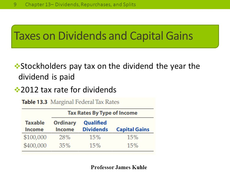 Taxes on Dividends and Capital Gains
