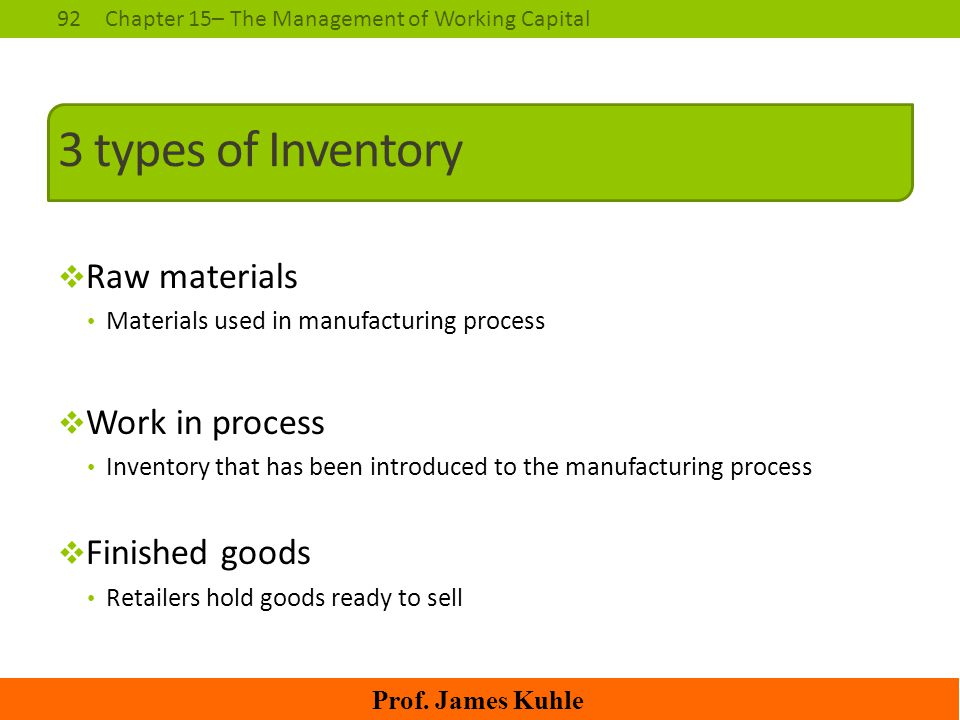 3 types of Inventory Raw materials Work in process Finished goods