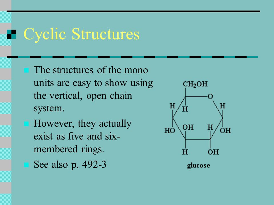Cyclic Structures The structures of the mono units are easy to show using the vertical, open chain system.
