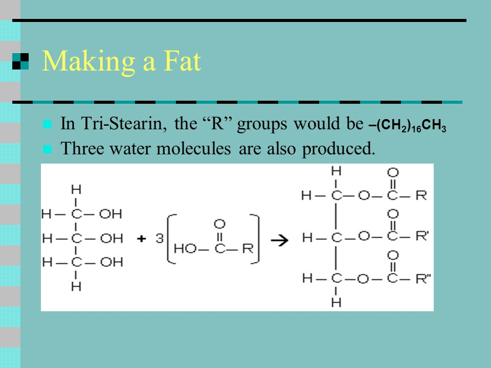 Making a Fat In Tri-Stearin, the R groups would be –(CH2)16CH3