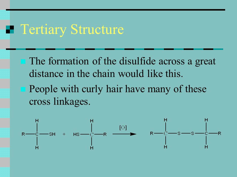 Tertiary Structure The formation of the disulfide across a great distance in the chain would like this.