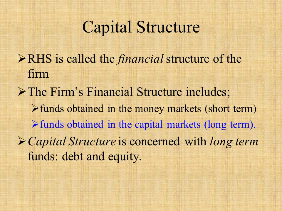 Capital Structure RHS is called the financial structure of the firm