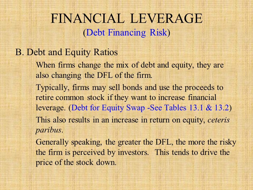 FINANCIAL LEVERAGE (Debt Financing Risk)