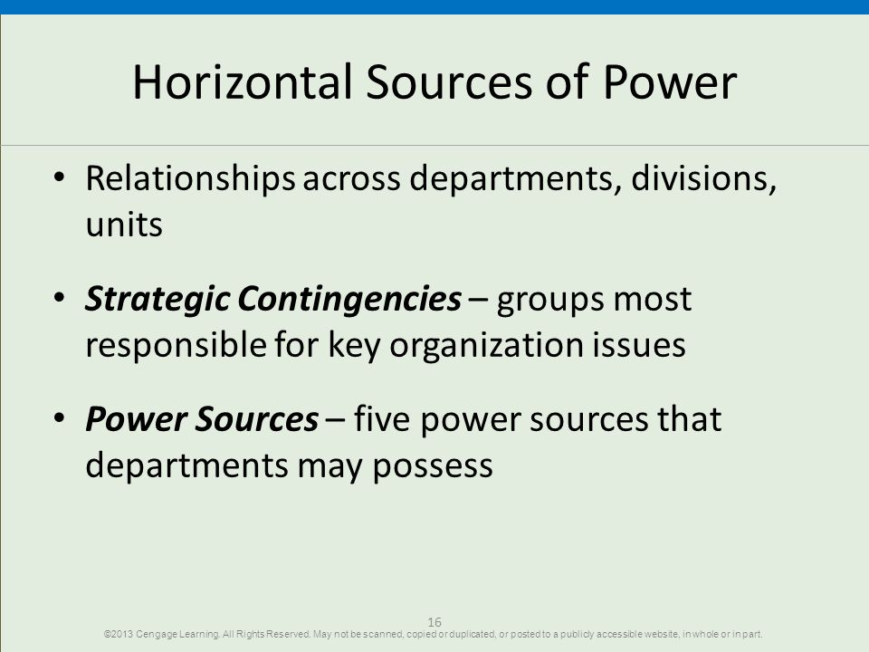 Horizontal Sources of Power
