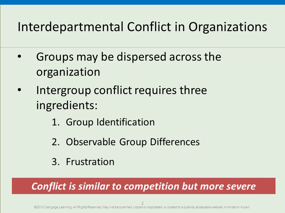 Interdepartmental Conflict in Organizations