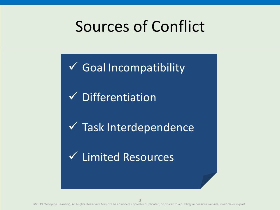 Sources of Conflict Goal Incompatibility Differentiation