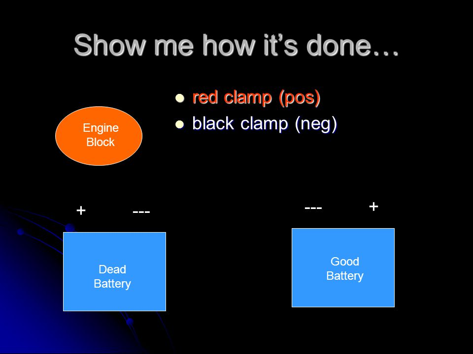 Show me how it's done… red clamp (pos) black clamp (neg) --- + + ---