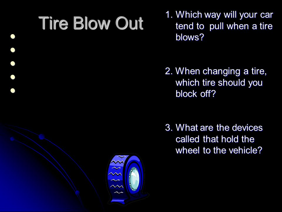 Tire Blow Out Which way will your car tend to pull when a tire blows