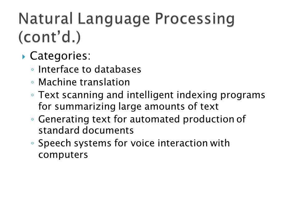 Natural Language Processing (cont'd.)