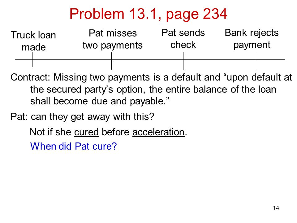 Problem 13.1, page 234 Pat misses two payments Pat sends check