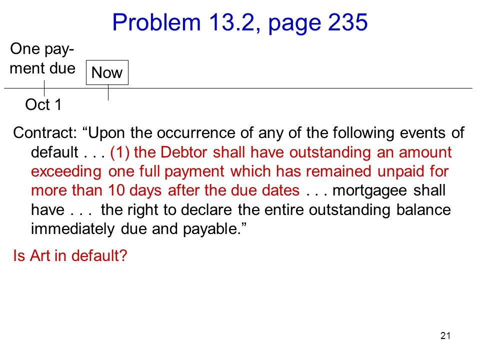 Problem 13.2, page 235 One pay- ment due Now Oct 1