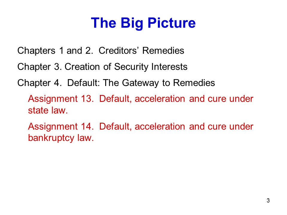The Big Picture Chapters 1 and 2. Creditors' Remedies