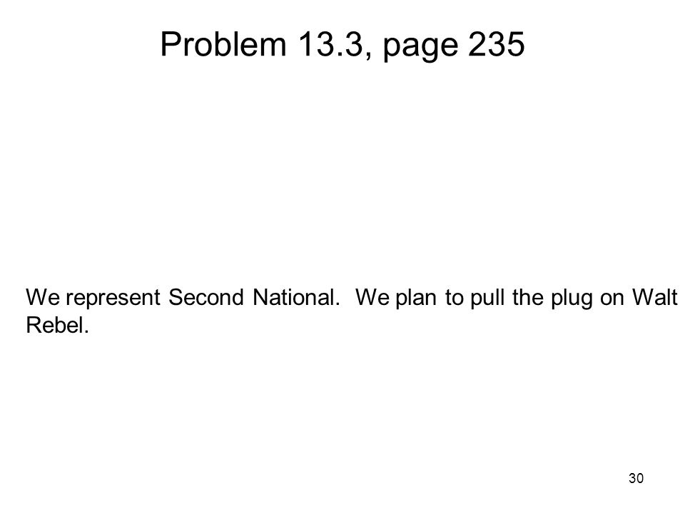 Problem 13.3, page 235 We represent Second National. We plan to pull the plug on Walt Rebel.