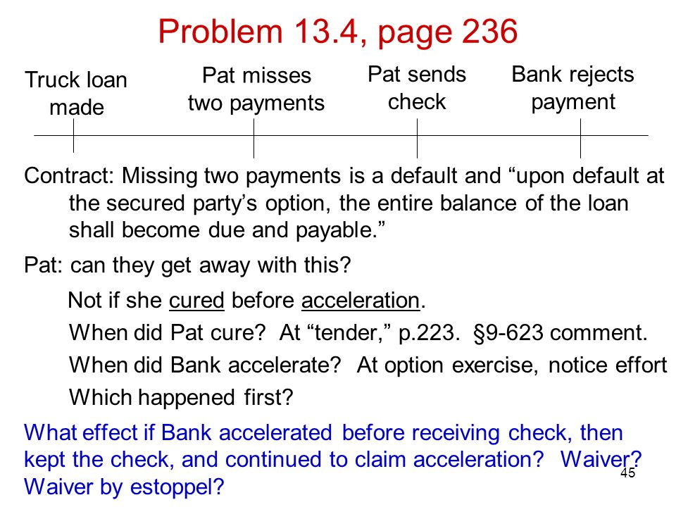 Problem 13.4, page 236 Pat misses two payments Pat sends check