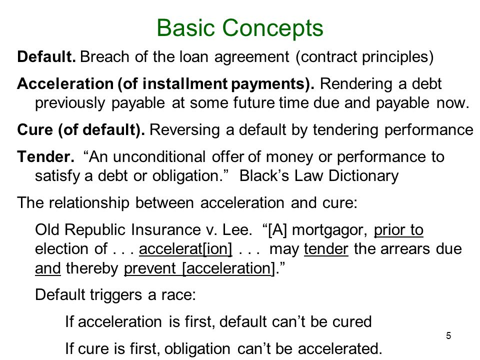 Basic Concepts Default. Breach of the loan agreement (contract principles)