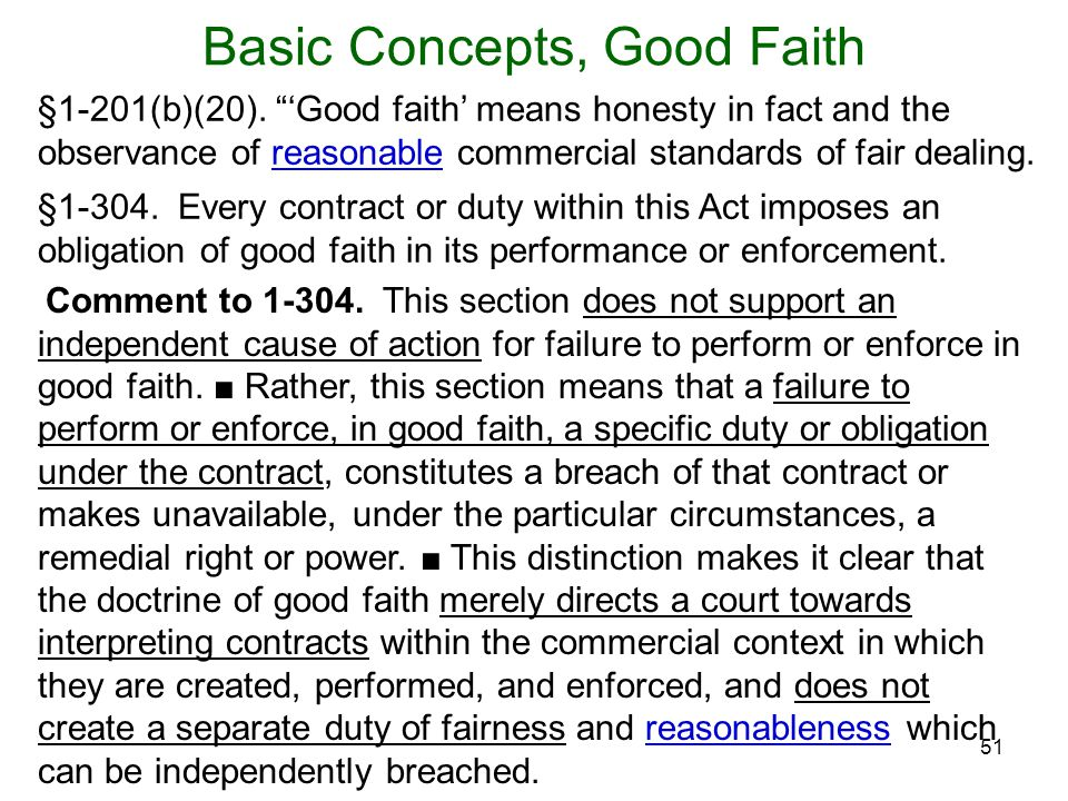 Basic Concepts, Good Faith
