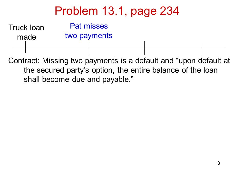 Problem 13.1, page 234 Pat misses Truck loan two payments made